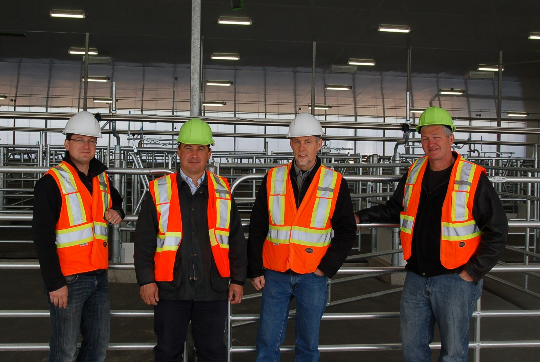 In the photo from left to right are: Remo Pallottini Facility Manager, Facility Manager, Agricultural Research Institute of Ontario (ARIO Properties)  Hon. Michael Chong, M.P. Wellington-Halton Hills Bev Livingston, Manager of the Elora/ Ponsonby Livestock Stations Ian Harrop, Regional Board Member, Dairy Farmers of Ontario